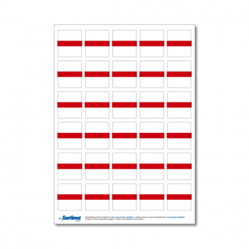 Inscription labels Insetbox 30 pcs red (1 sheet)